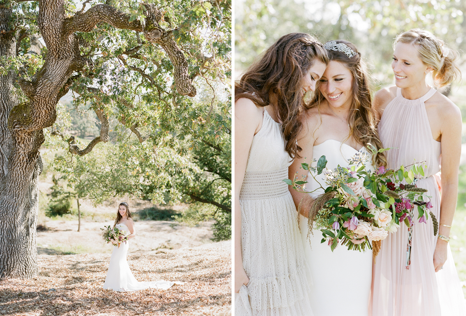 The bride shares a moment with her sister and bridesmaids; Sylvie Gil Photography