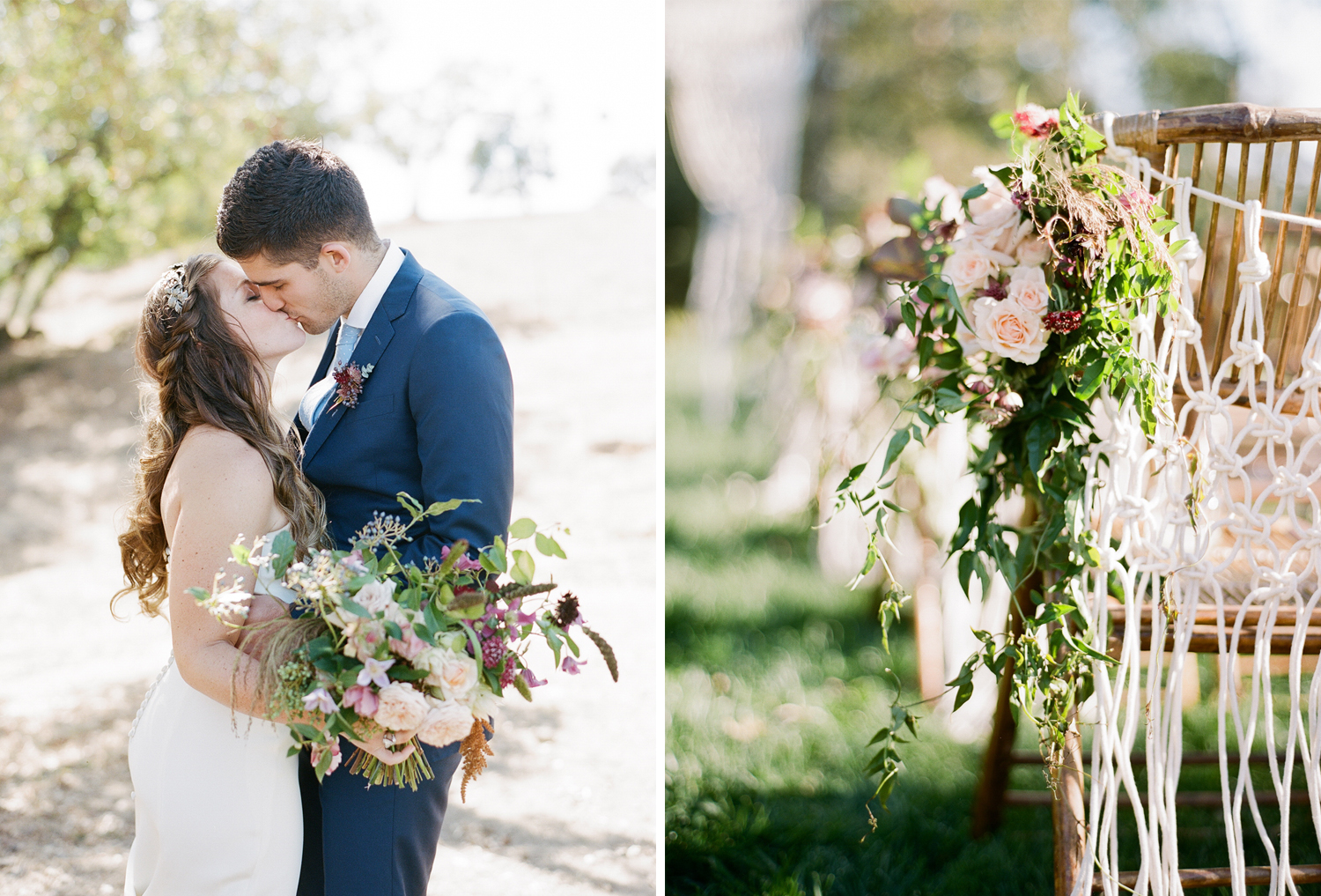 Blush and lilac blooms and macrame decorations hang on the wicker ceremony seating; Sylvie Gil Photography