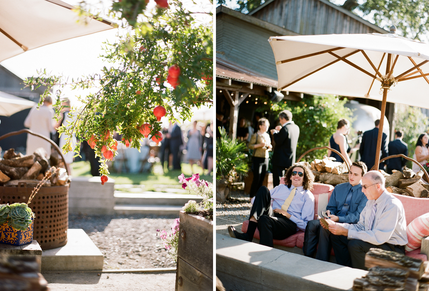 Succulents, pomegranates, and firewood decorate the rustic cocktail space; Sylvie Gil Photography