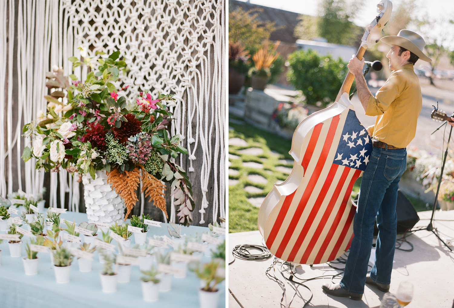 Macrame hanging and table card/succulent planters; Sylvie Gil Photography