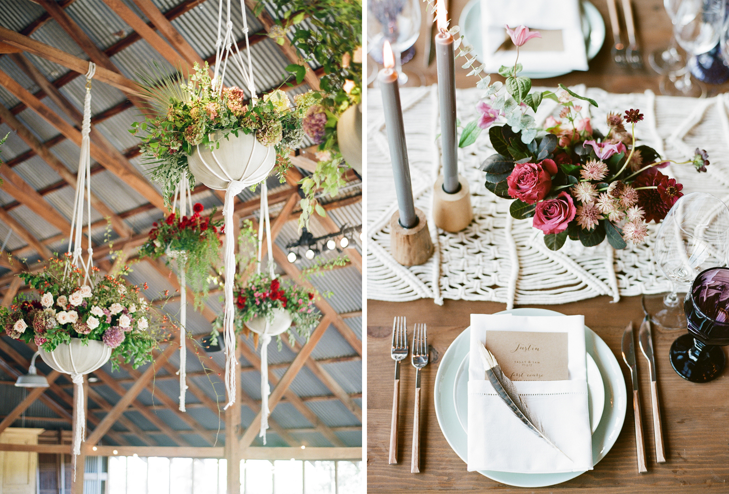 Macrame hanging planters and table runners decorate an airy barn wedding reception in Napa Valley; Sylvie Gil Photography