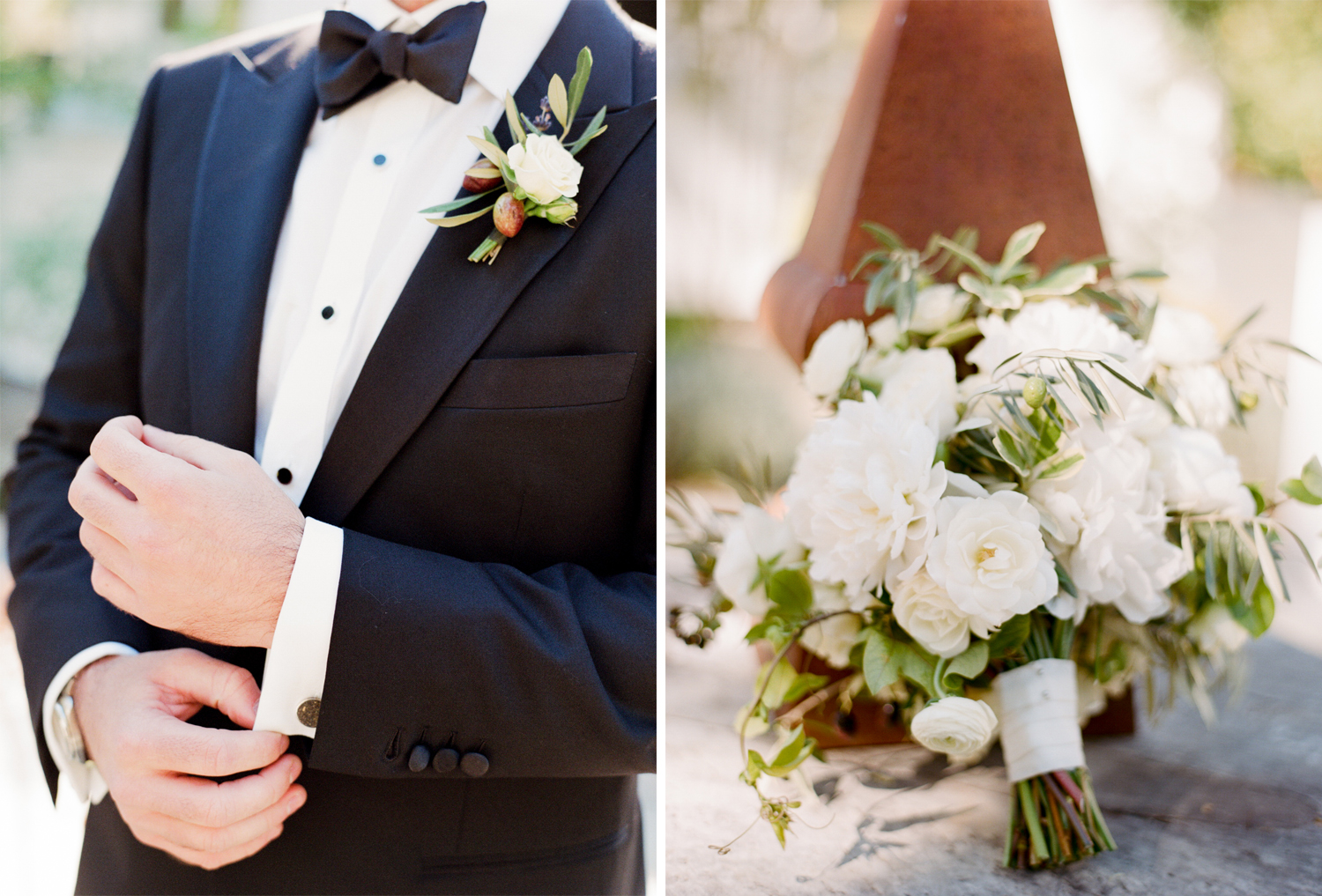 The bride's white rose and olive bouquet; Sylvie Gil Photography