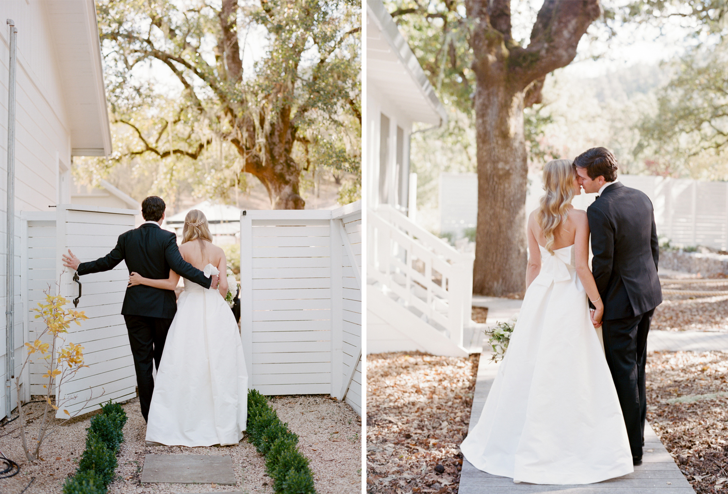 Bride and groom share a moment during their first look at Durham Ranch in St. Helena wine country; Sylvie Gil Photography