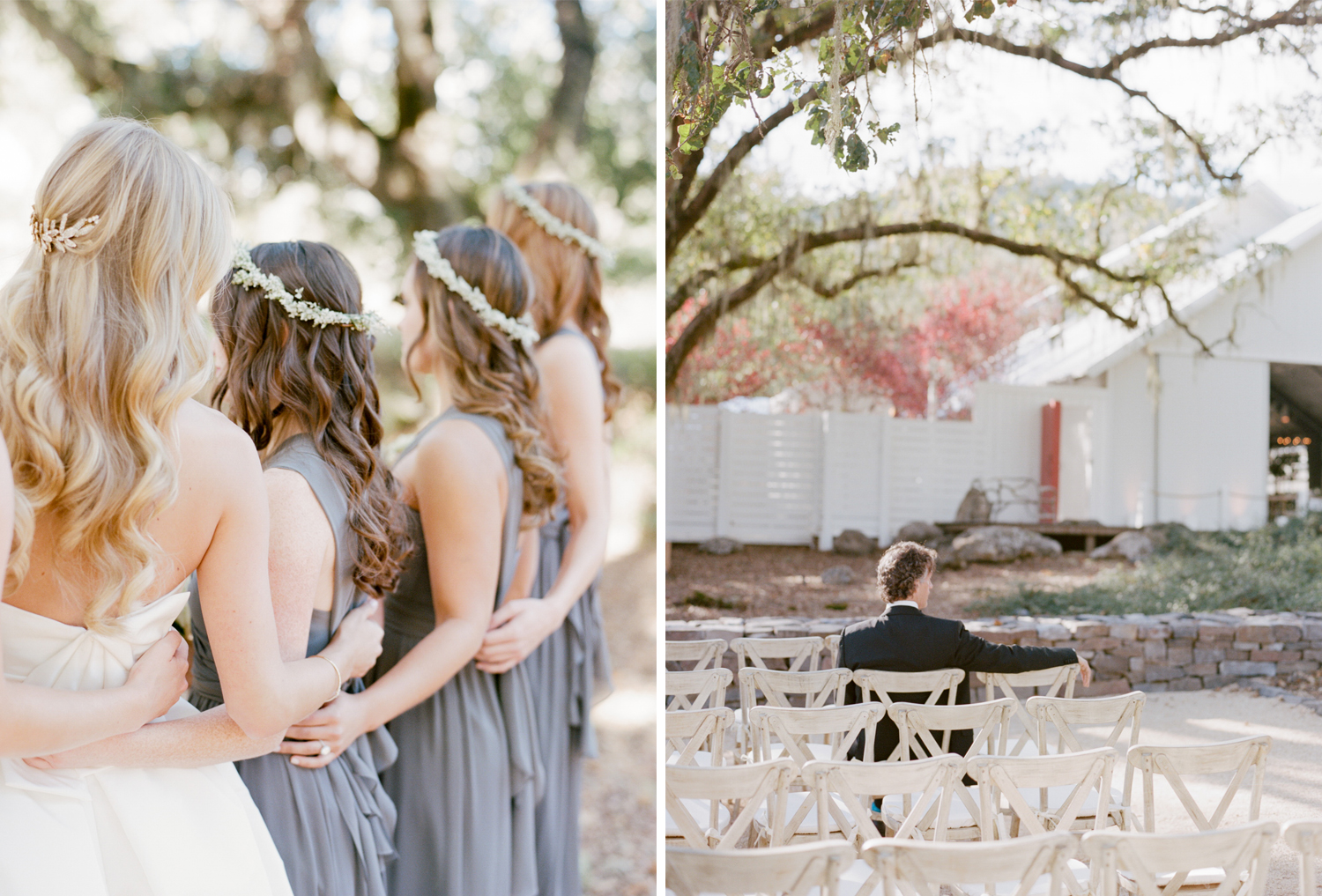 Bridesmaids stand with the bride before the ceremony at Durham Ranch; Sylvie Gil Photography