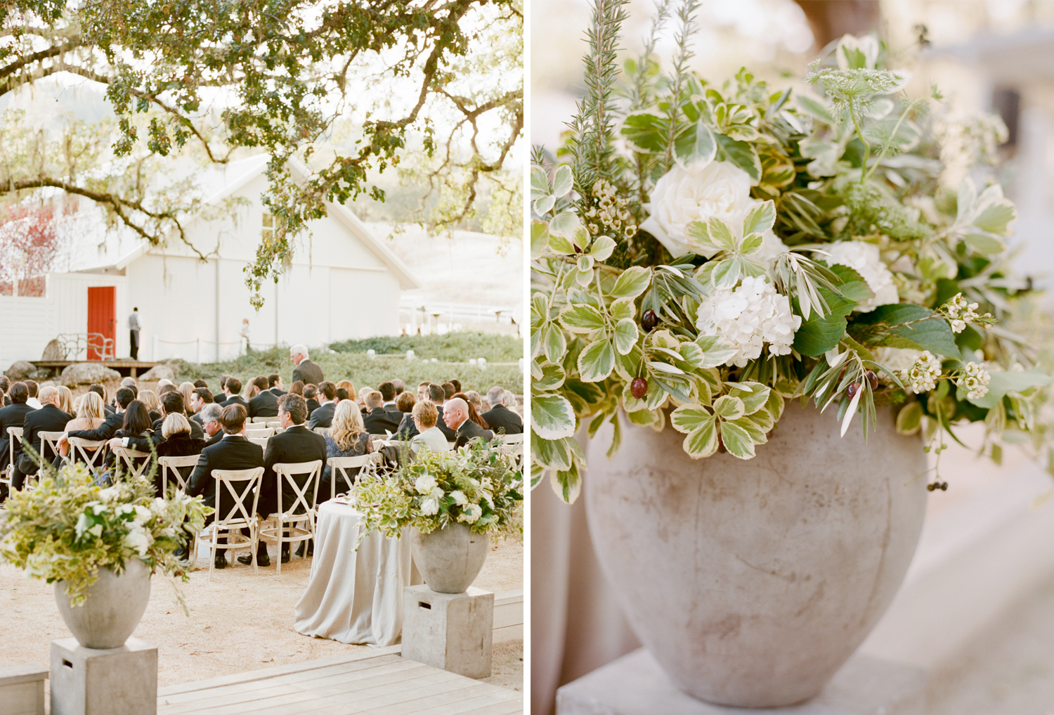 Olive and white rose floral arrangements decorate a wedding ceremony at Durham Ranch in St. Helena, California; Sylvie Gil Photography