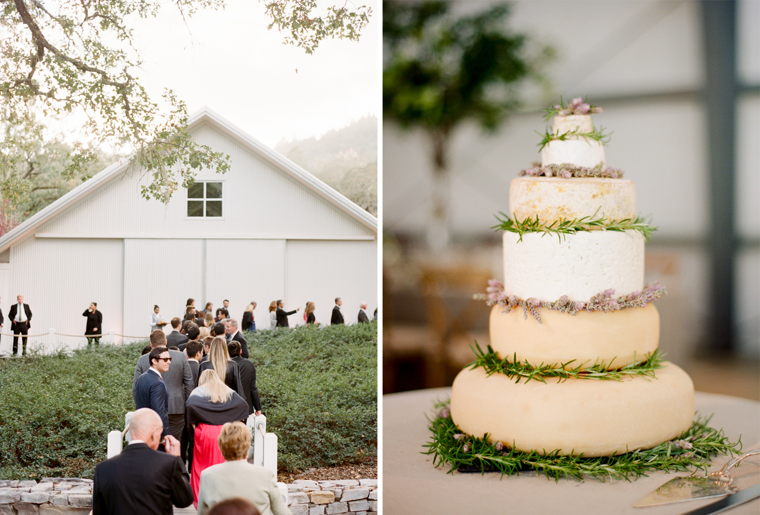 "A wedding ""cake"" made from stacked wheels of cheese decorated with rosemary and lavender sprigs; Sylvie Gil Photography"