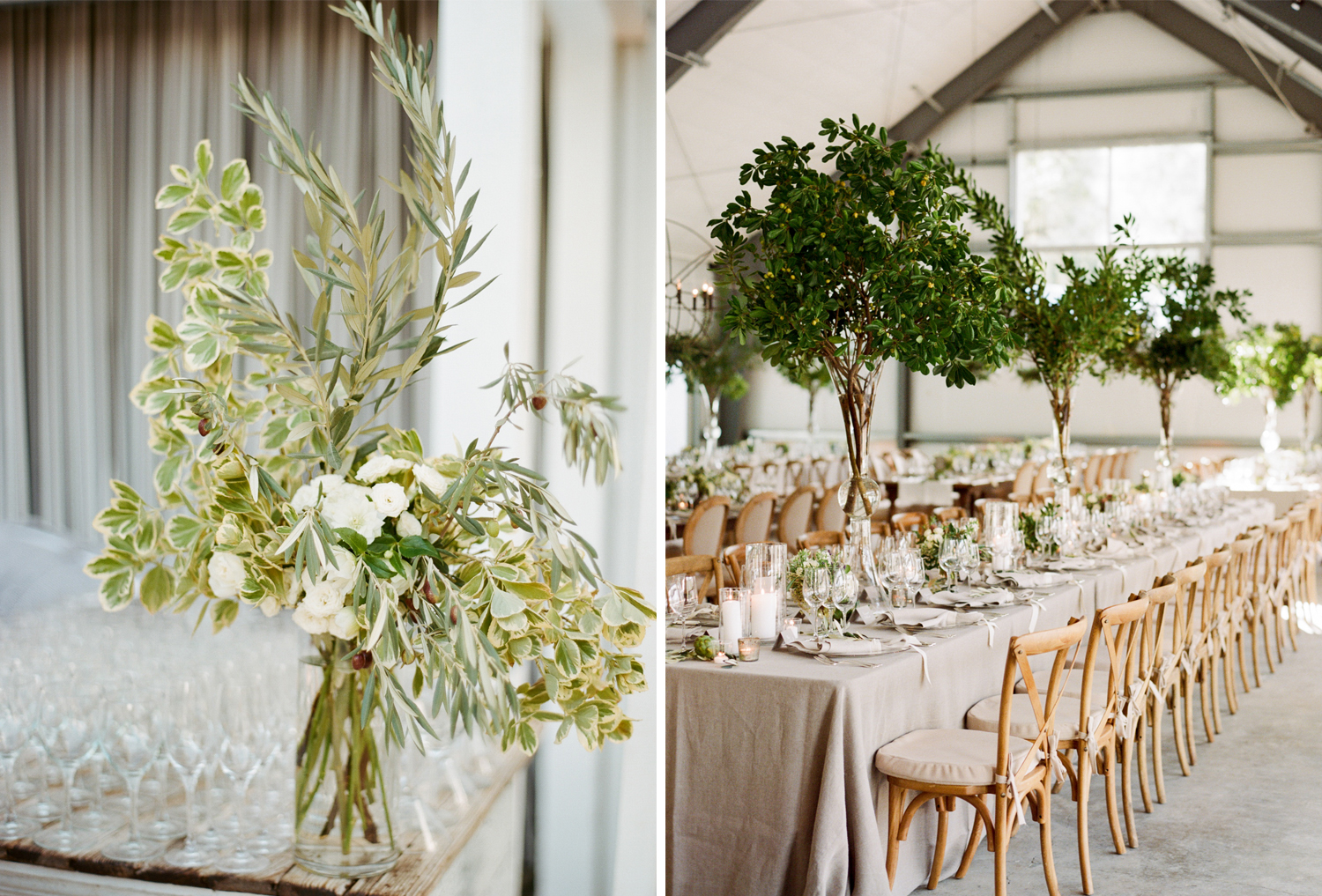 Olive branch and white rose florals decorate reception tables in the airy barn at Durham Ranch; Sylvie Gil Photography