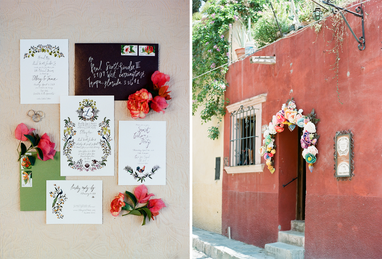 A peacock-themed calligraphed invitation suite for a destination wedding in San Miguel de Allende; Sylvie Gil Photography