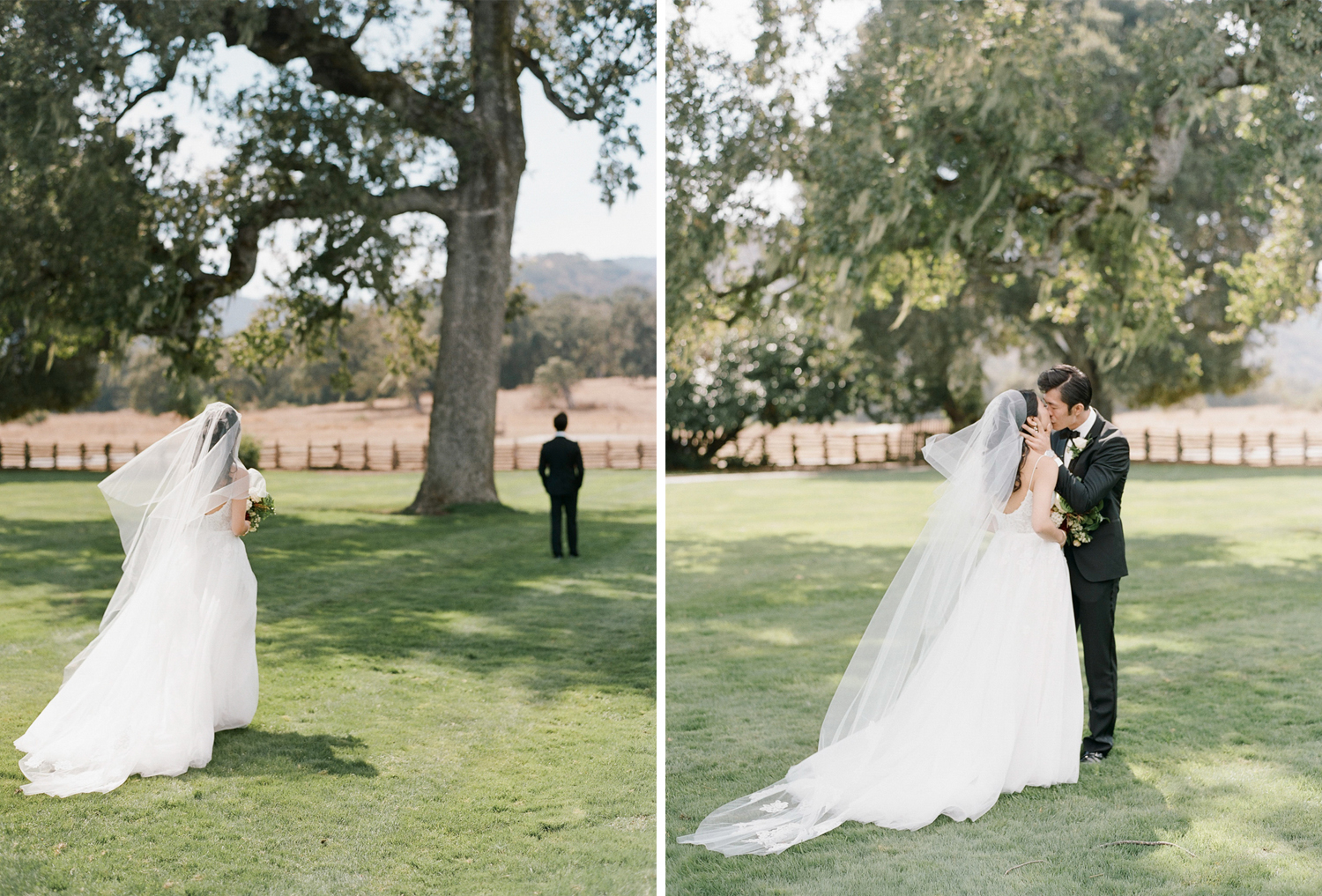 The bride and groom share their first look on the morning of their wedding in the Santa Lucia Preserve in Carmel; Sylvie Gil Photography