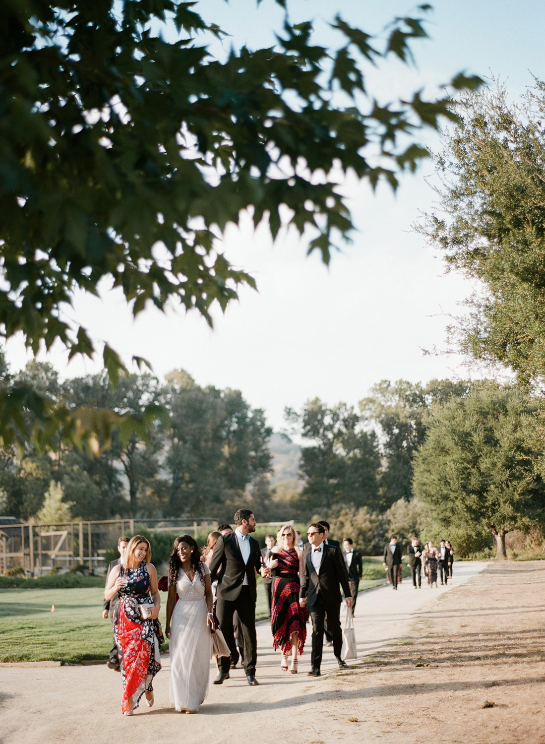 Guests arrive for a wedding reception in a barn at the Santa Lucia Preserve, California; Sylvie Gil Photography