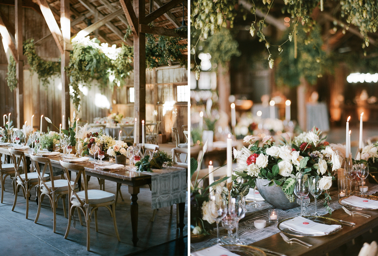 A barn wedding reception at the Santa Lucia Preserve decorated with neutral and crimson florals in concrete planters; Sylvie Gil Photography