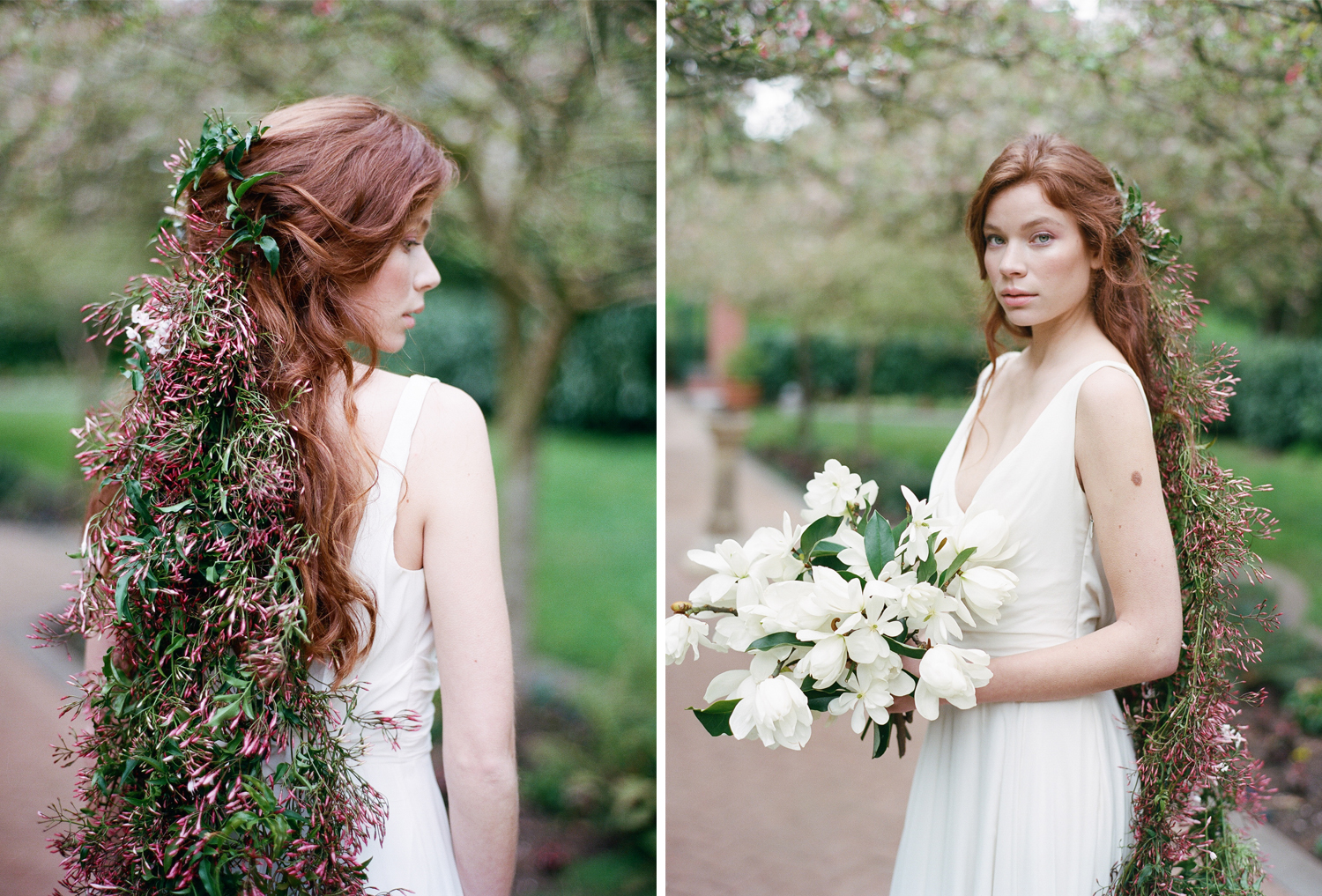 A bride with a gardenia bouquet and jasmine blossoms in her hair; Sylvie Gil Photography