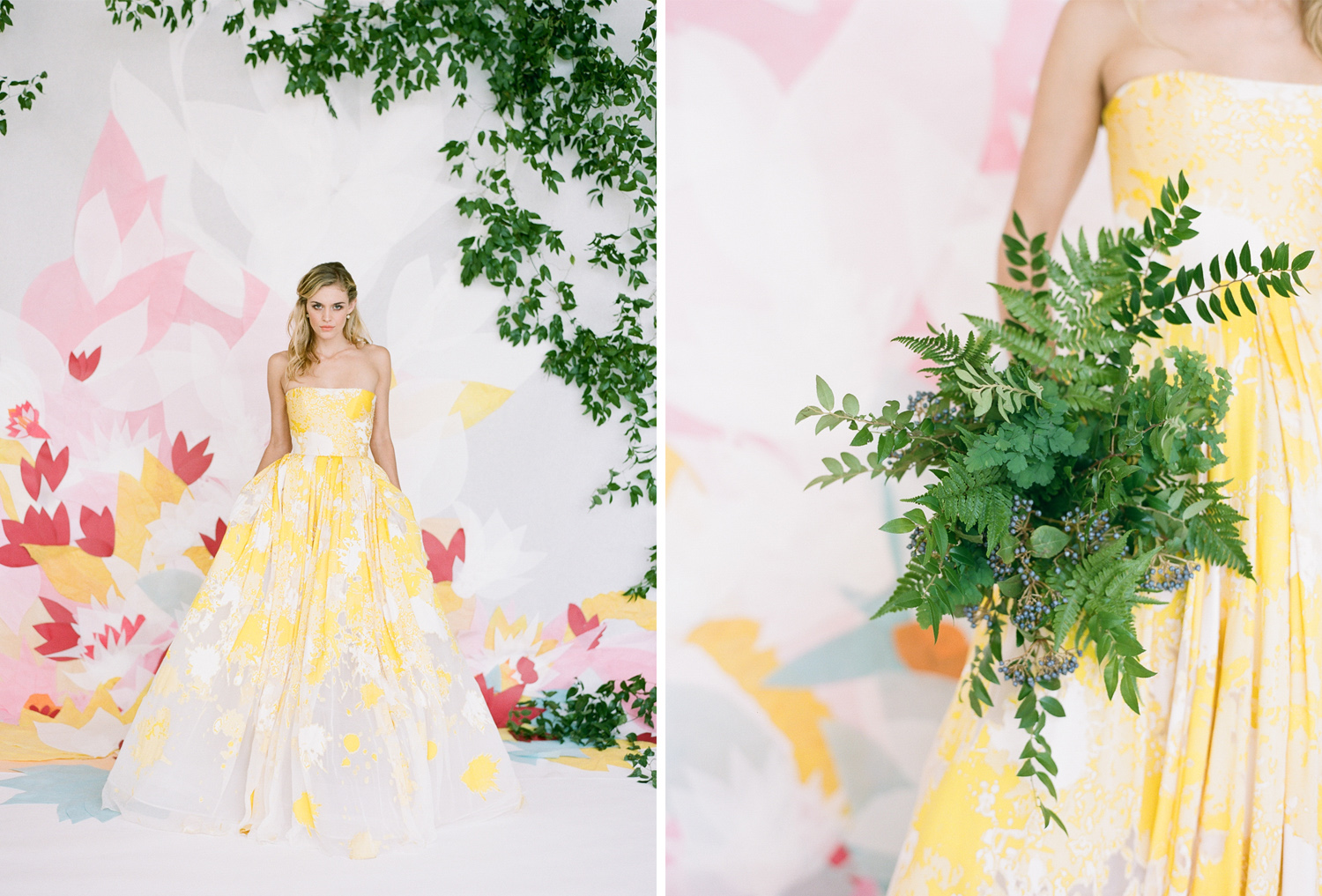 A colorful bride in front of a paper flower backdrop with a fern bouquet; Sylvie Gil Photography