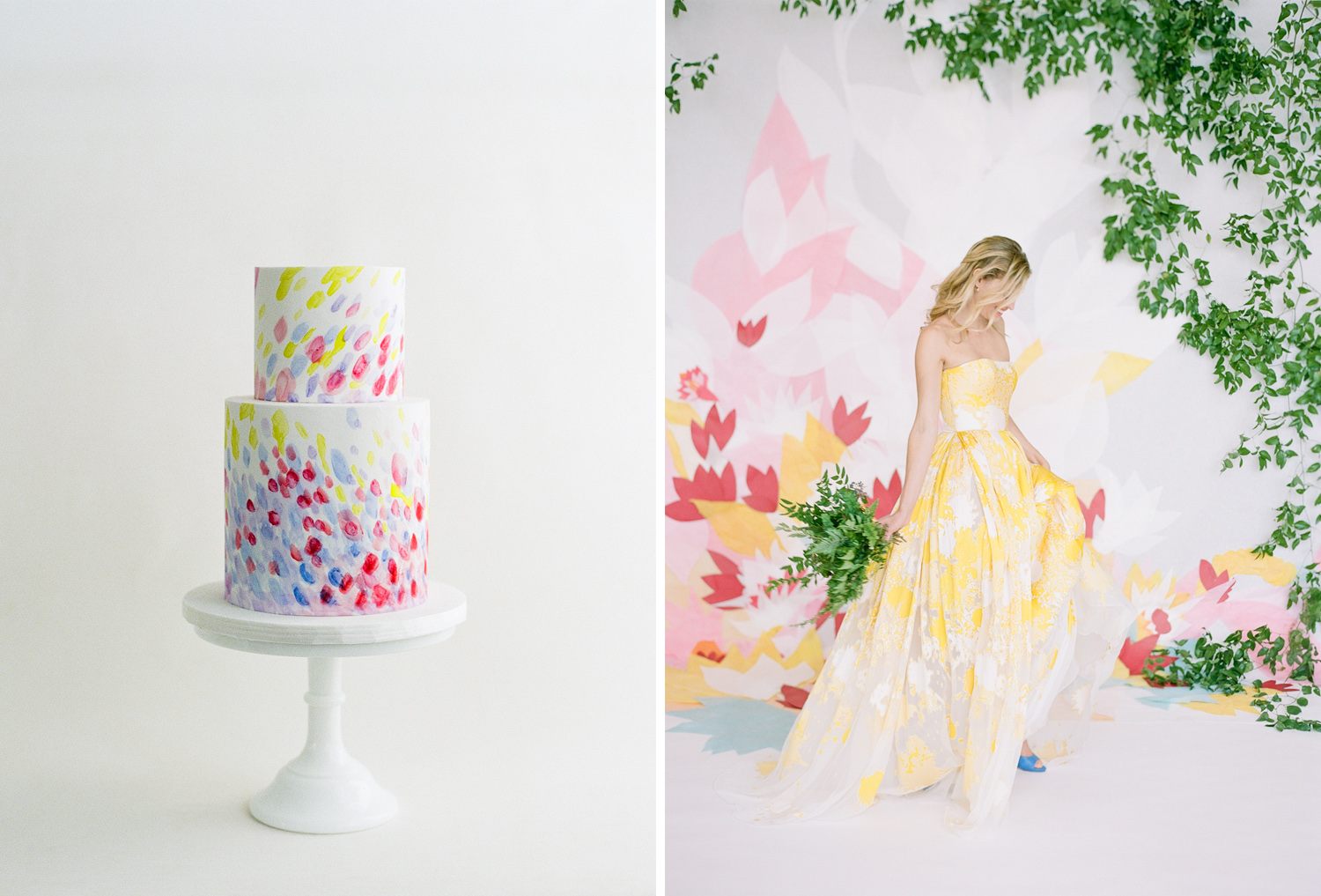 A two-tier watercolor wedding cake to match a bride in a yellow-painted strapless gown; Sylvie Gil Photography