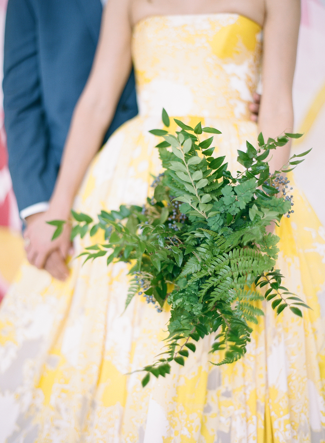 A fern bouquet to complement a colorful wedding palette; Sylvie Gil Photography