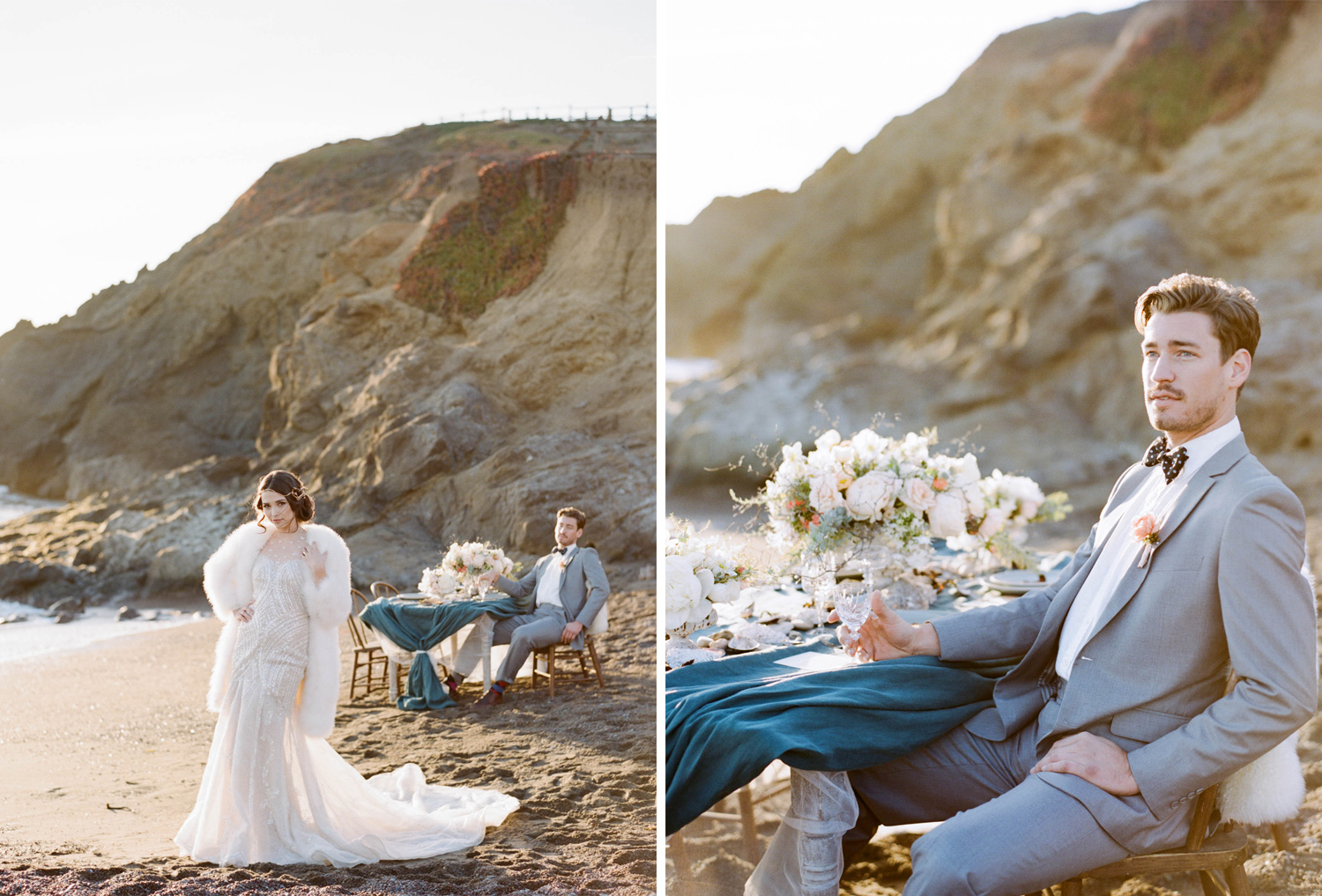 A bride and groom pose by an intimate reception table on the California coast; Sylvie Gil Photography