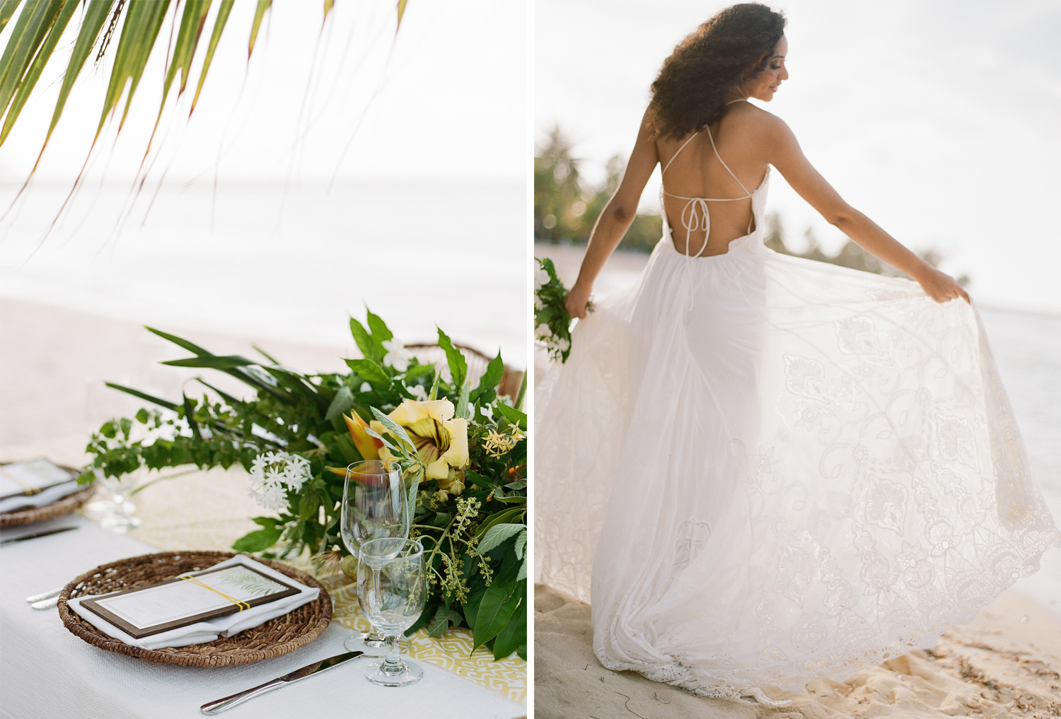 A wicker place mat and tropical blooms for beach wedding reception in Montego Bay, Jamaica; Sylvie Gil Photography