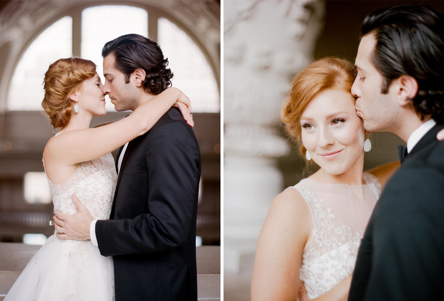 A wedding couple session in San Francisco City Hall; Sylvie Gil Photography