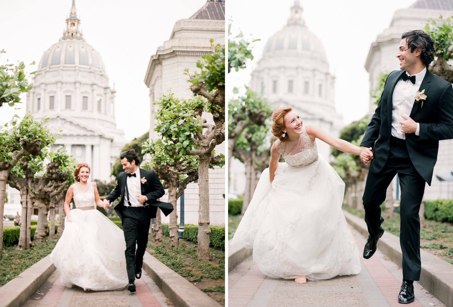 Bride and groom run down a pathway outside San Francisco City Hall hand in hand; Sylvie Gil Photography