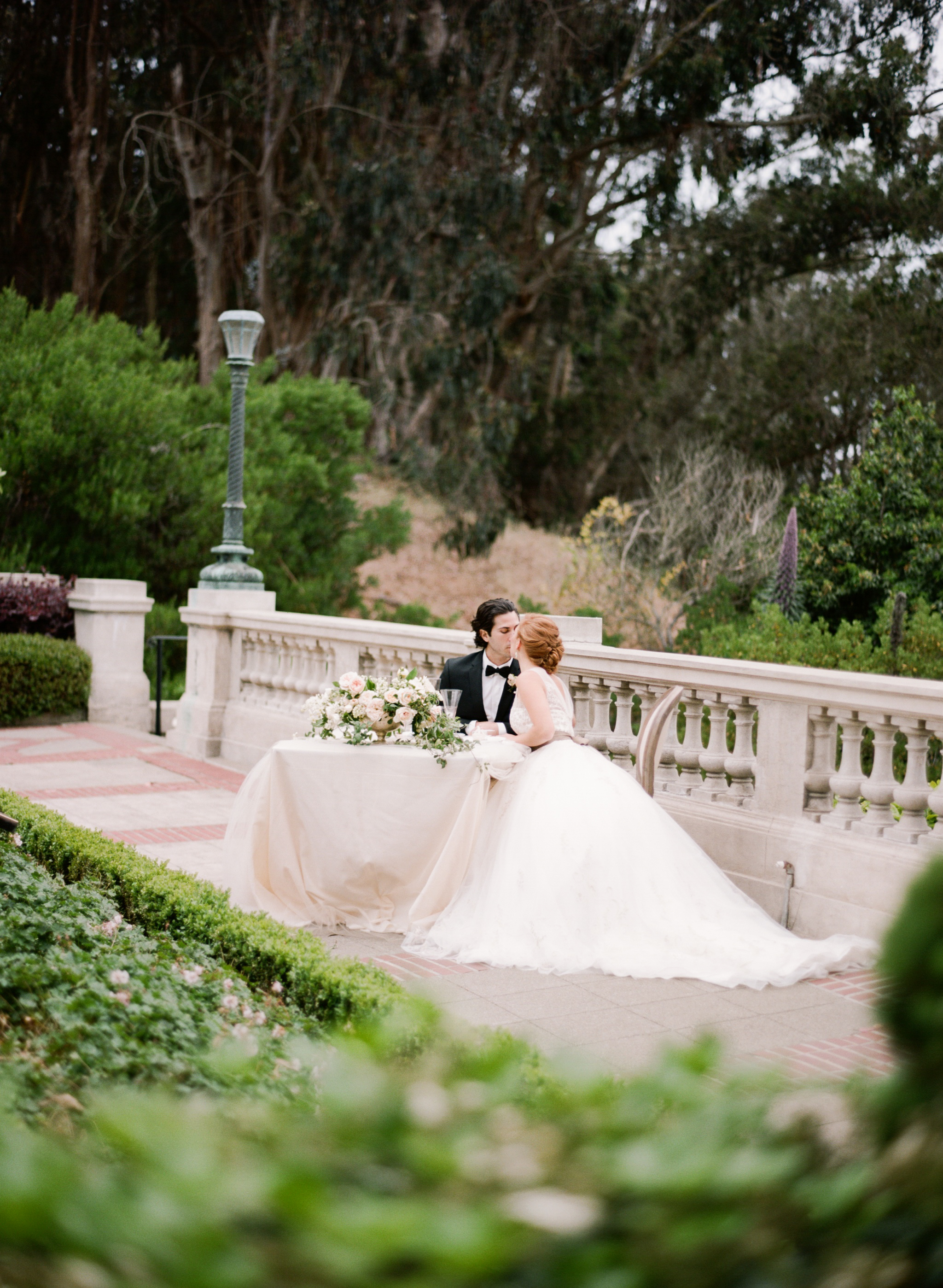 An intimate wedding reception at Lyon Steps in San Francisco; Sylvie Gil Photography