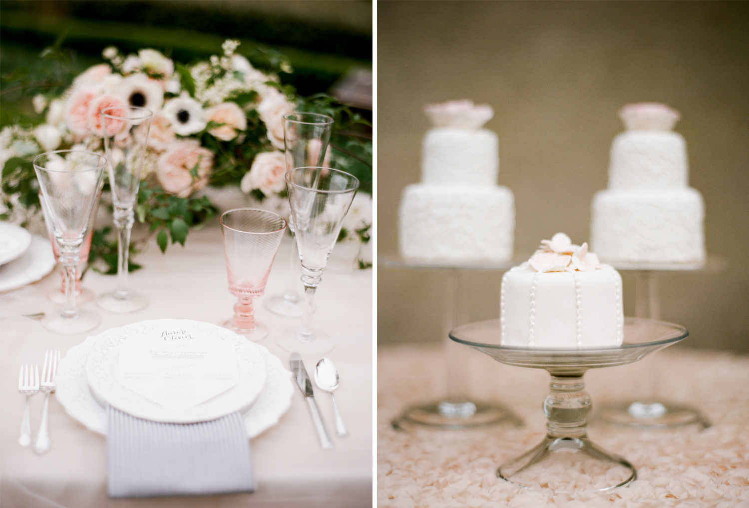 Cream and blush florals with mini fondant cakes at an intimate wedding reception in San Francisco; Sylvie Gil Photography