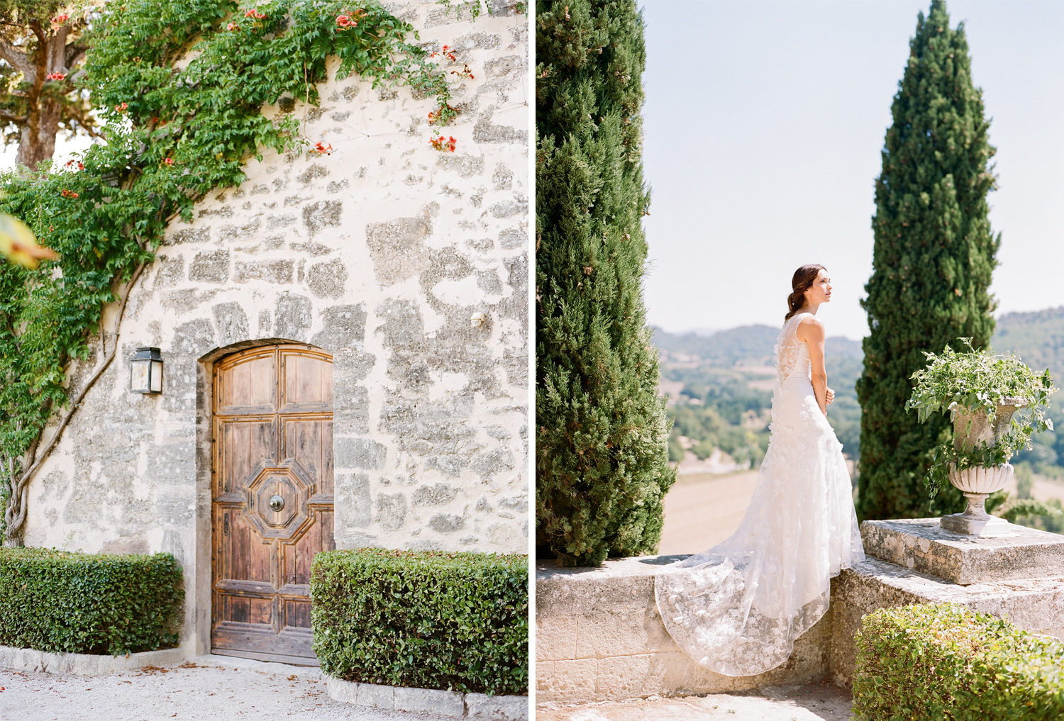 A bride basks in the sun at a chateau in Provence, France; Sylvie Gil Photography