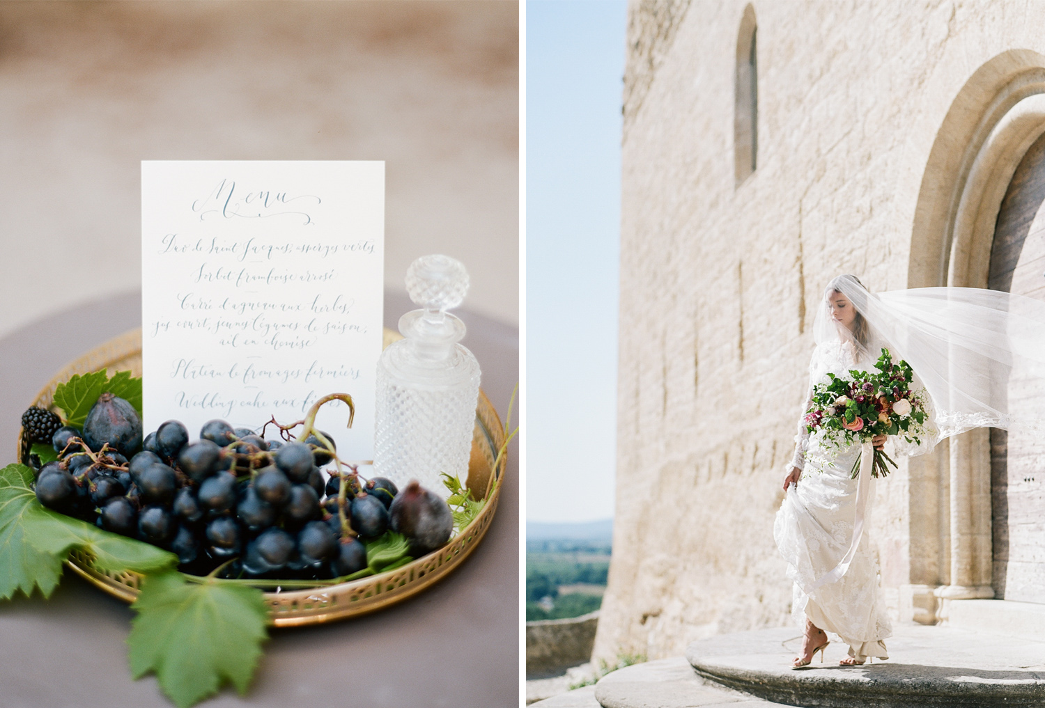 A bride walks down the steps of a village church in Provence, France; Sylvie Gil Photography