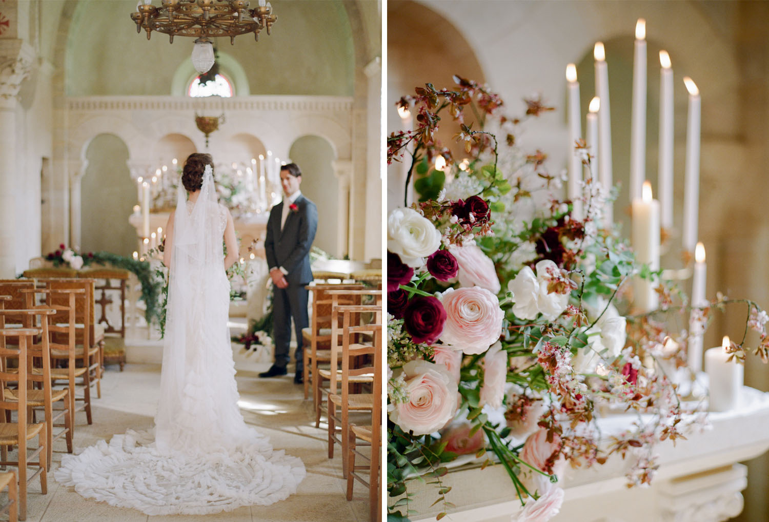 A wedding ceremony in Chateau de Varennes chapel in Burgundy, France; Sylvie Gil Photography