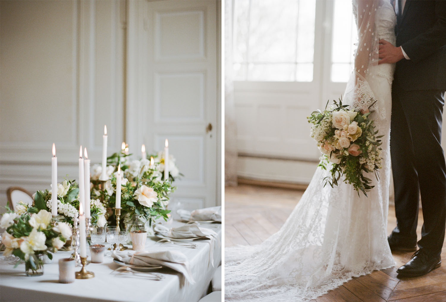 A cream and blush wedding reception table at Chateau de Varennes in Burgundy, France; Sylvie Gil Photography