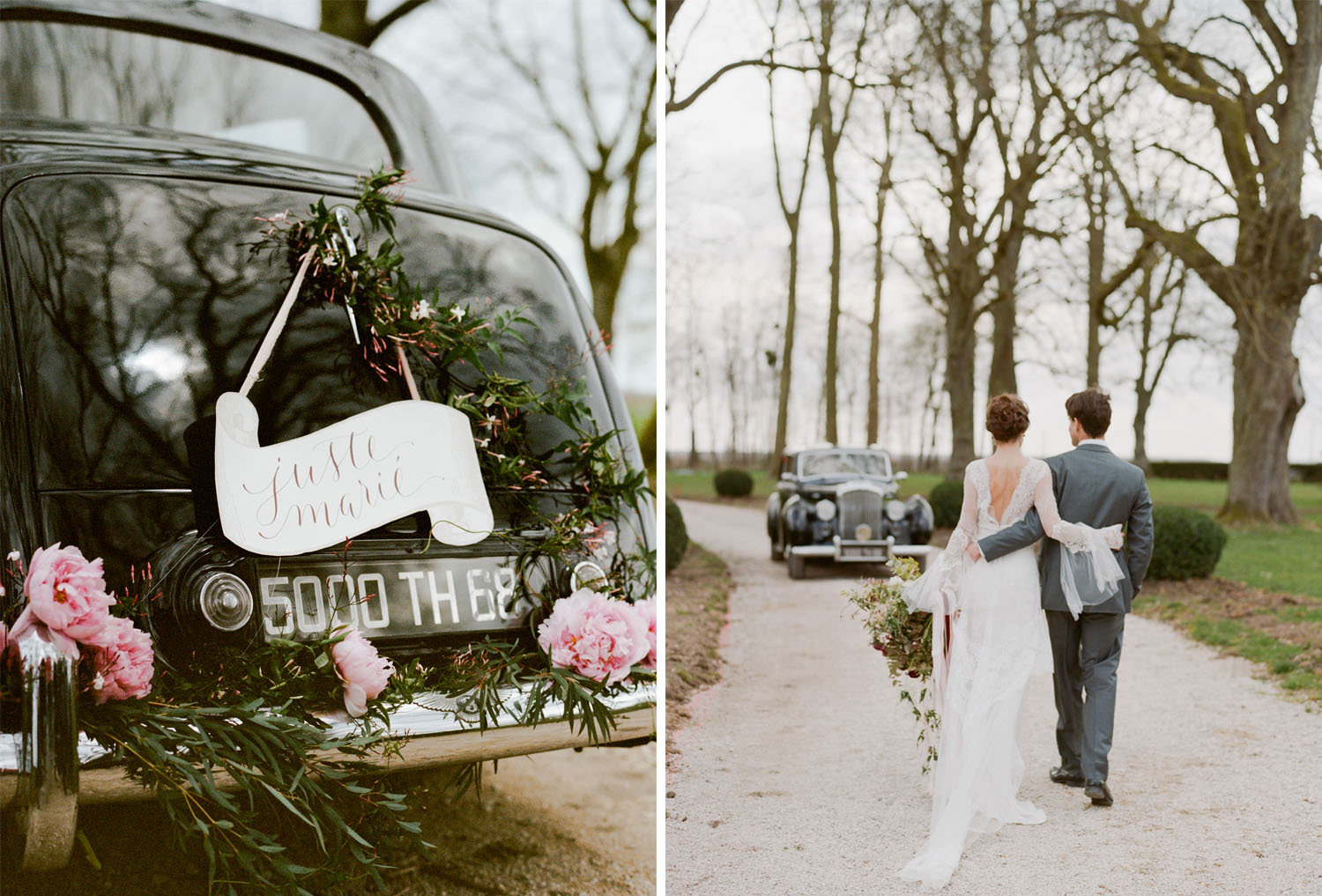 A just married getaway car at Chateau de Varennes in Burgundy, France; Sylvie Gil Photography