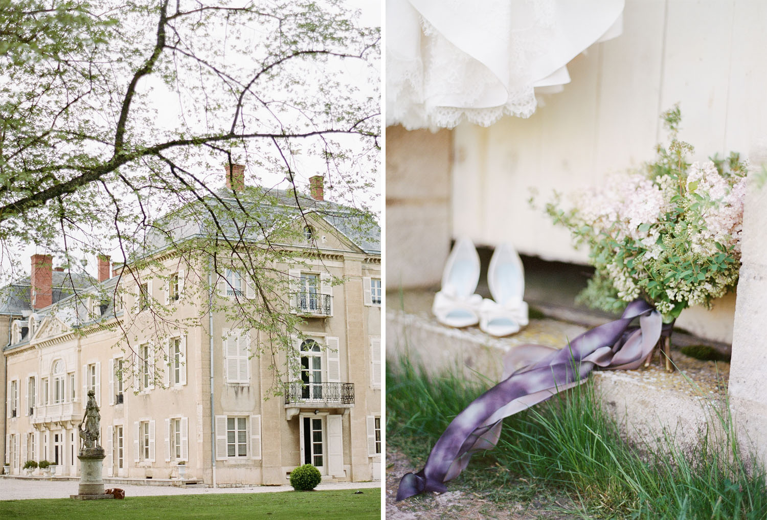A bouquet and bride's shoes laid out before a wedding in Burgundy, France; Sylvie Gil Photography