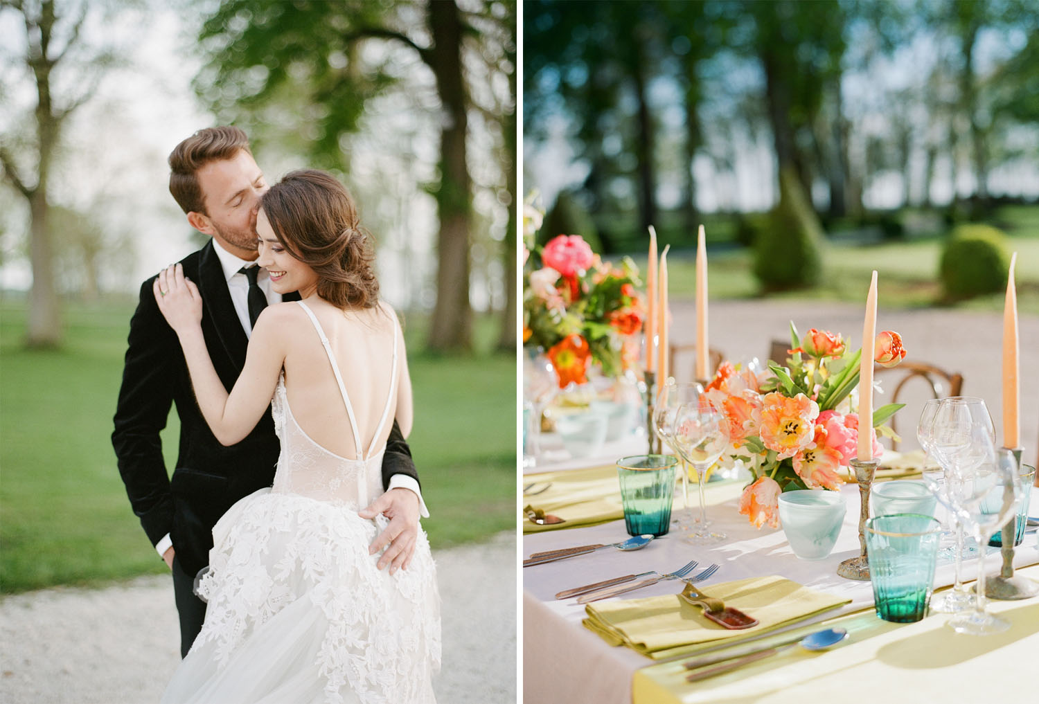 A jewel-toned wedding reception table at Chateau de Varennes in Burgundy, France; Sylvie Gil Photography