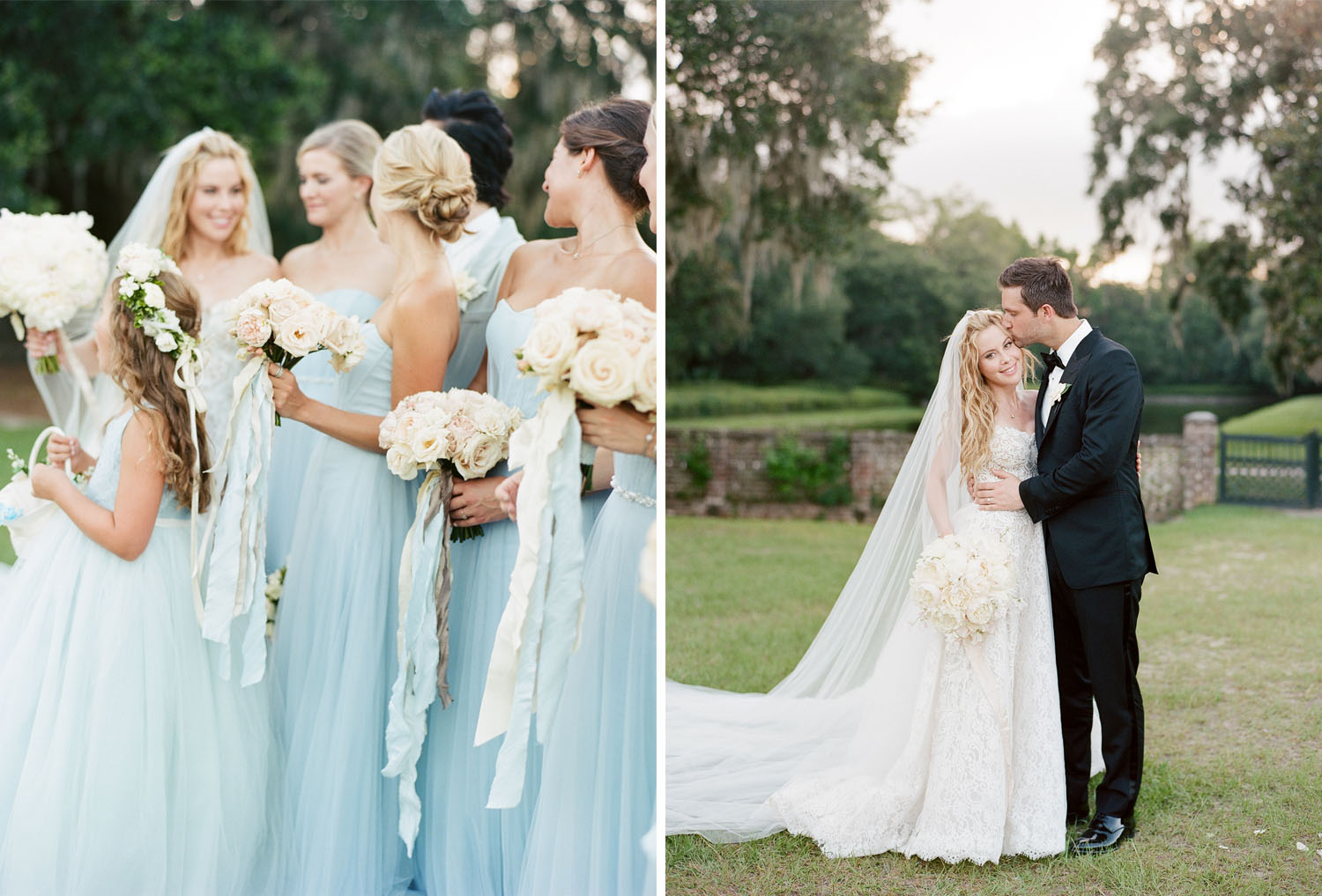 Tara Lipinski with her bridesmaids and bridesman Johnny Weir on her wedding day in Charleston; Sylvie Gil Photography