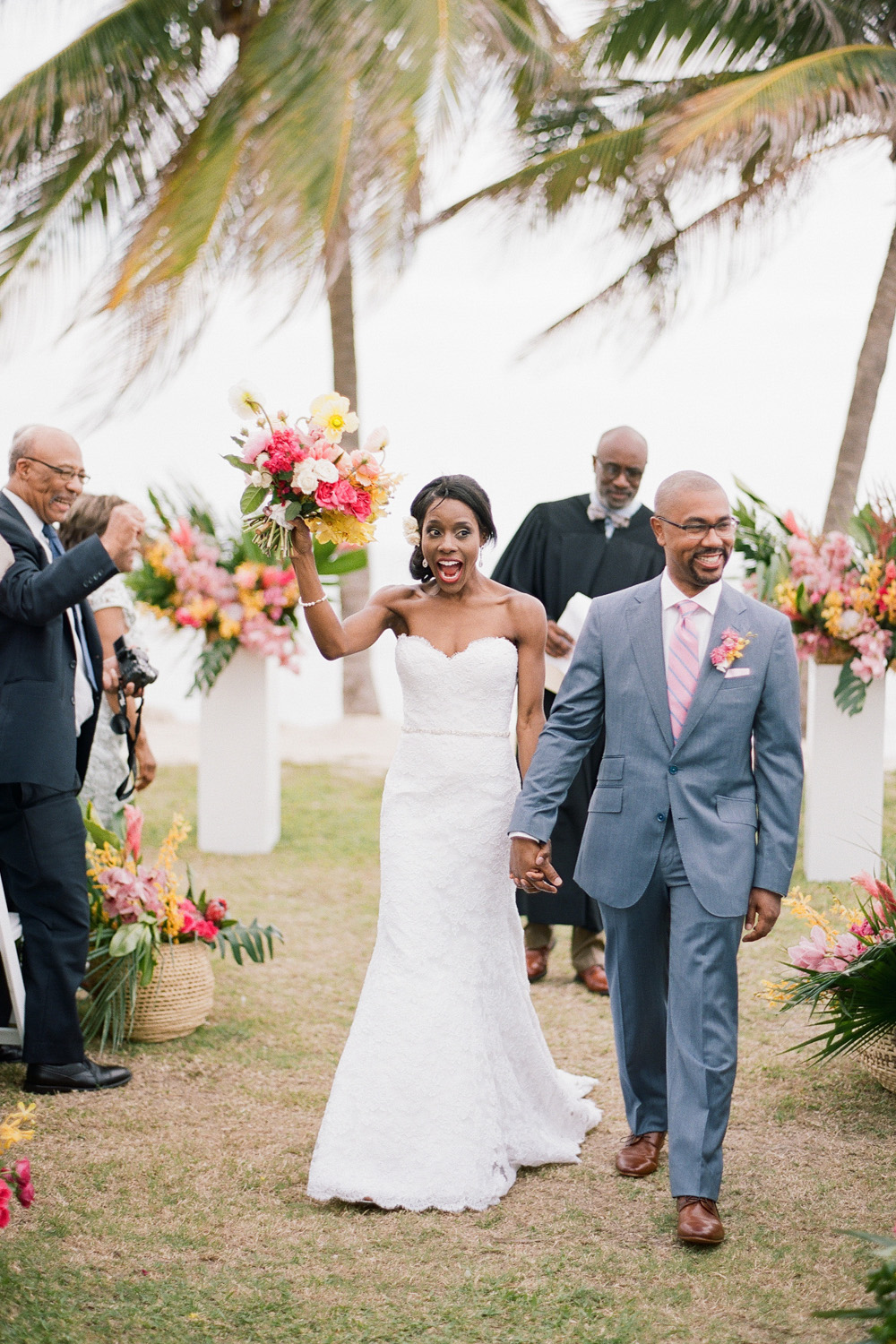 Bride and groom just married after a destination ceremony in Montego Bay, Jamaica; Sylvie Gil Photography