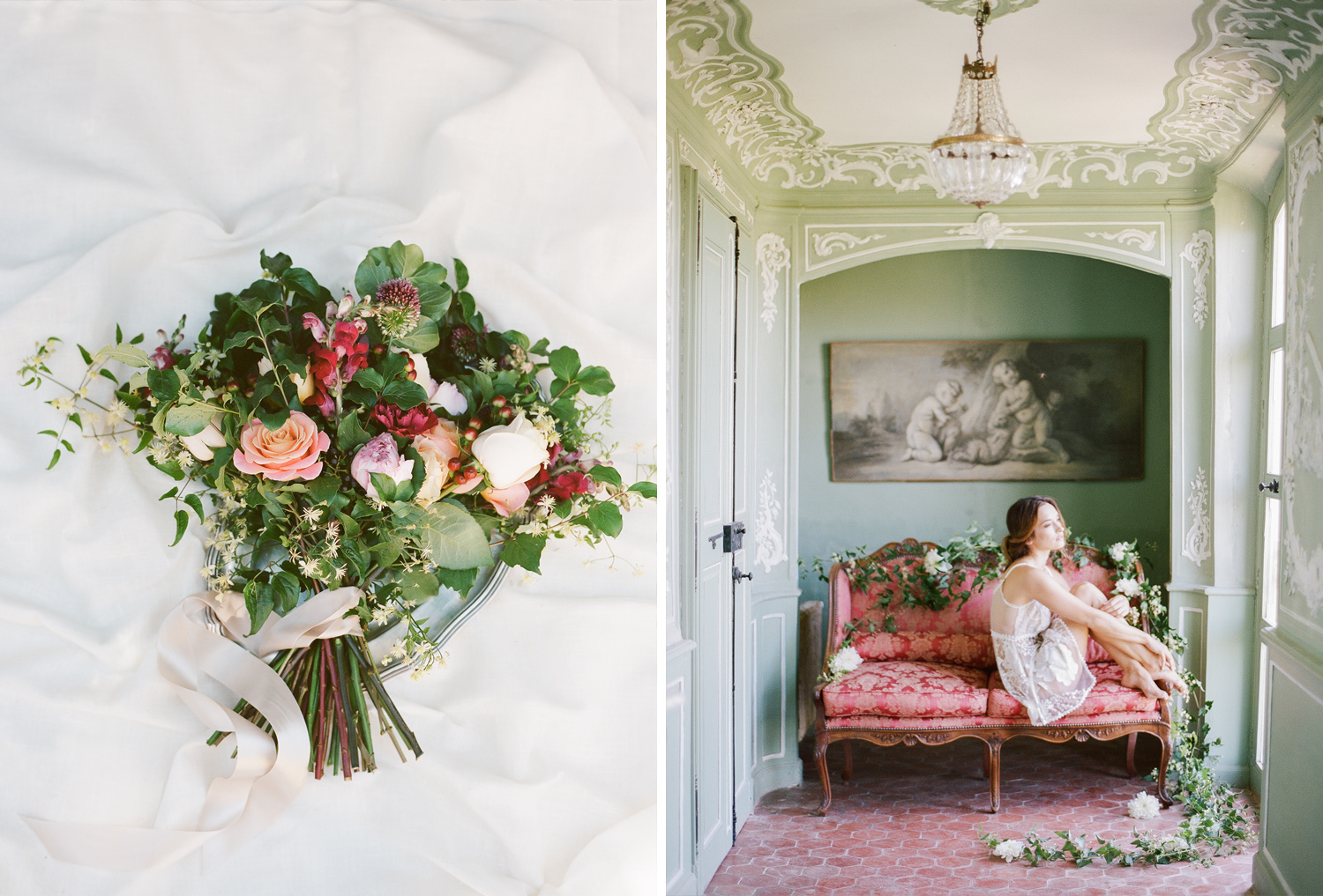 A bride in a boudoir shoot in a chateau in Provence, France; Sylvie Gil Photography