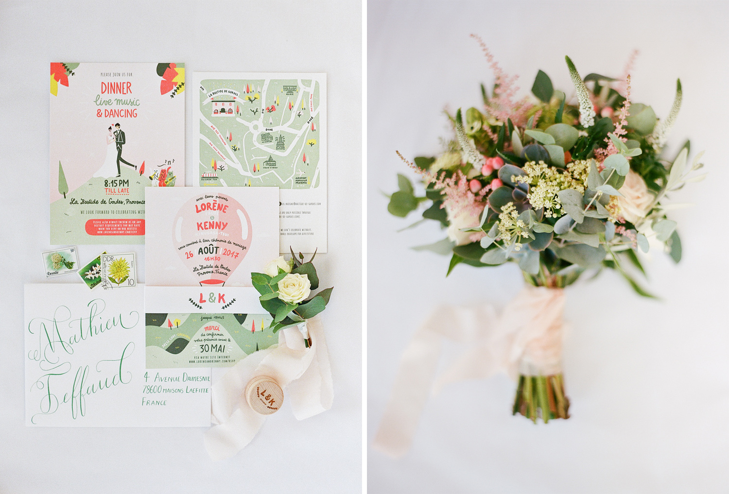 Cartoon invitations and the bride's matching bouquet; Sylvie Gil Photography