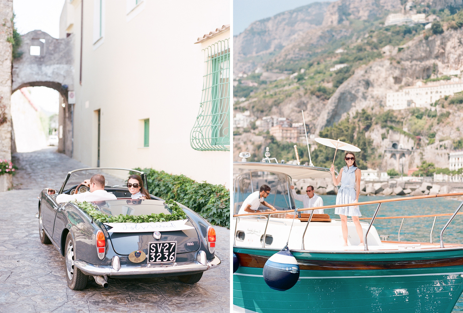 Bride and groom in a vintage getaway car in Ravello, on the Amalfi Coast, Italy; Sylvie Gil Photography