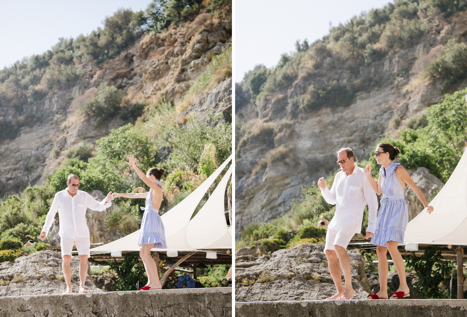 Bride and groom dance together during a wedding rehearsal brunch in Positano, Italy; Sylvie Gil Photography