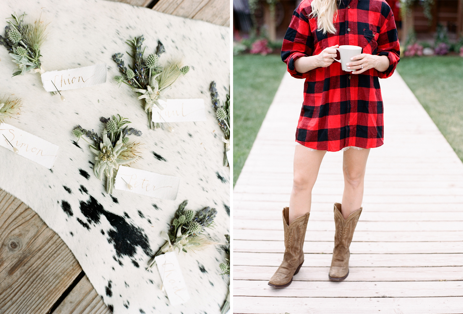 Wildflower boutonniere on cowhide, cowboy boots getting ready, country bride getting ready, Sylvie Gil Photography