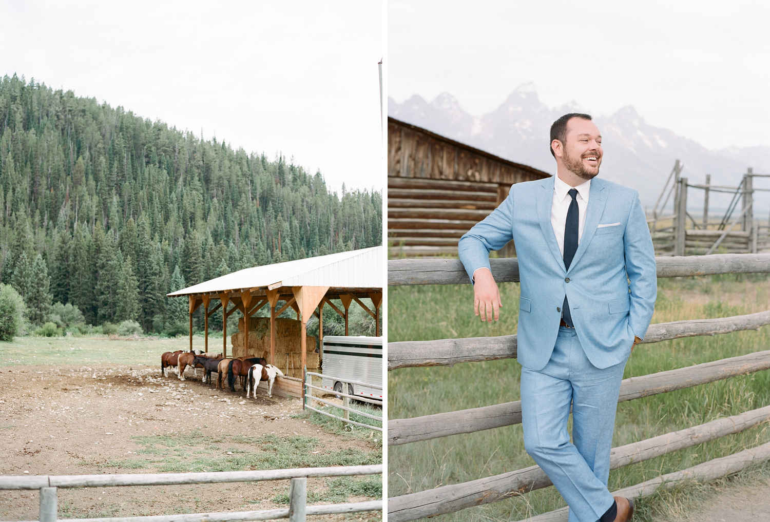 Horses feeding in Wyoming, Groom awaiting first look, Sylvie Gil Photography