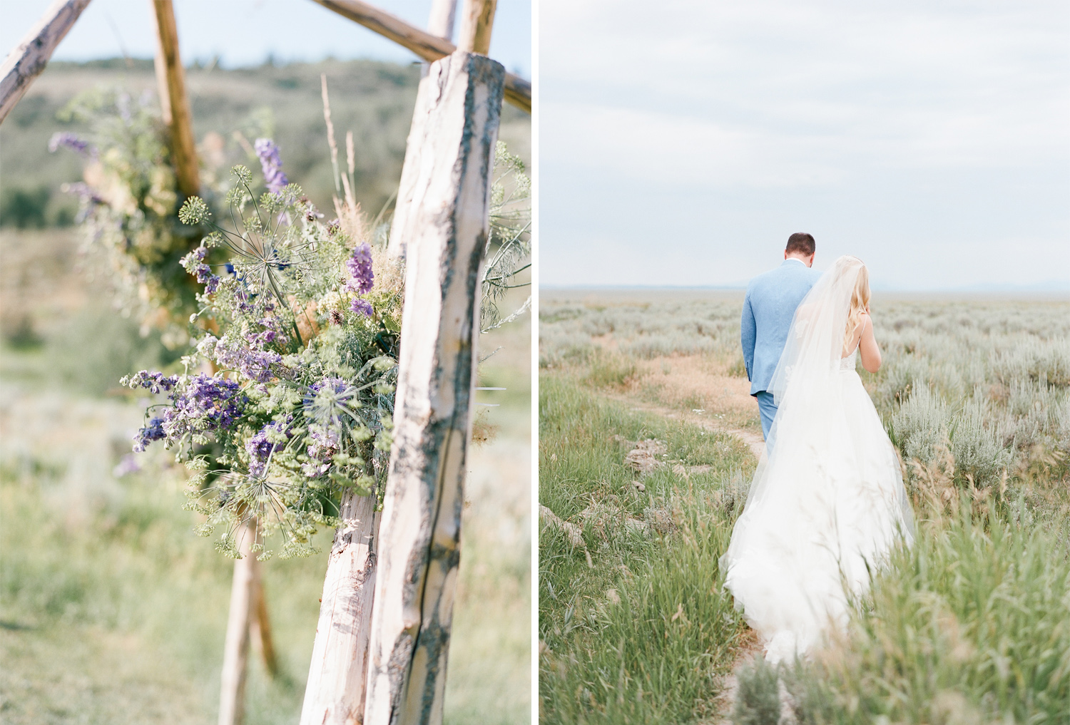 Ceremony flowers, wildflowers, couple walking into the sunset, Sylvie Gil Photography