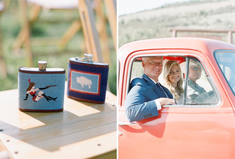custom wedding favor, needlepoint flasks, whiskey, flask, red vintage truck, hollywood couple, Sylvie Gil Photography