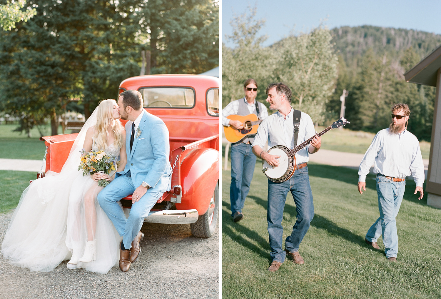 Kissing hollywood couple on the back of a red vintage truck in wyoming, country wedding, bluegrass band, Sylvie Gil Photography