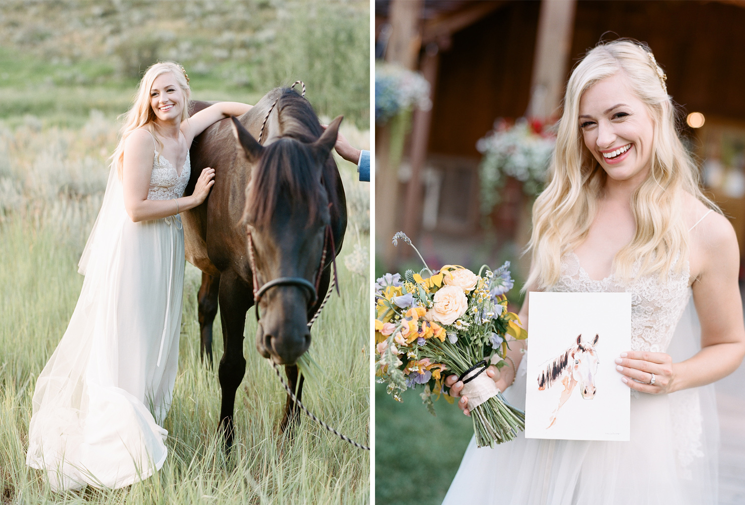 This bride loves horses and equestrian things, Equestrian bride, equine bridal photography, country wedding, wildhorse and bride, Sylvie Gil Photography