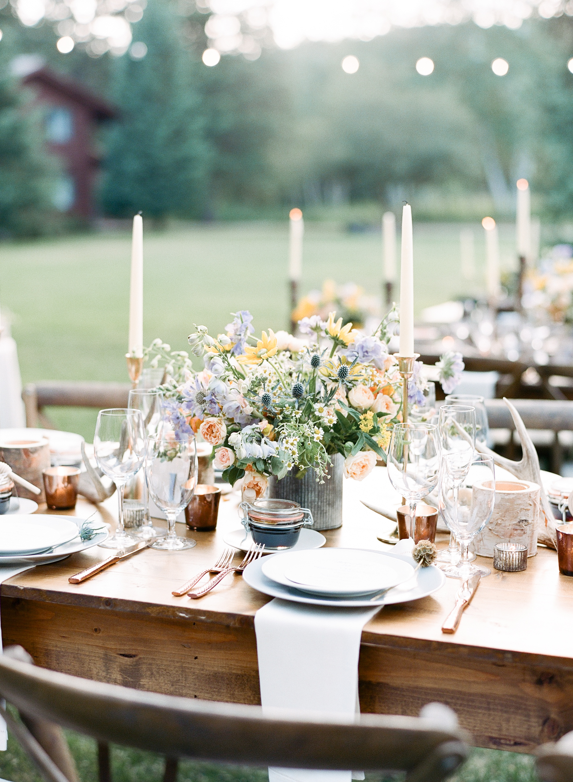 Table decor, long stem candles, gold silverware, beautiful table, country wedding, Sylvie Gil Photography