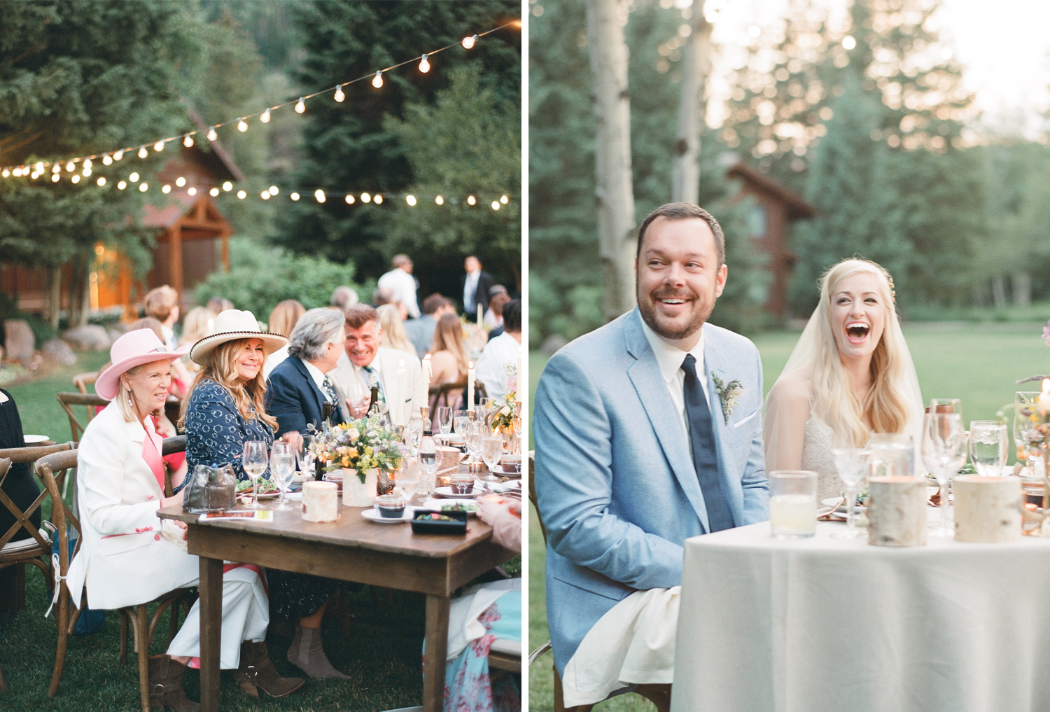 Famous guests and famous couple enjoy wedding dinner under twinkling lights in wyoming, Sylvie Gil Photography