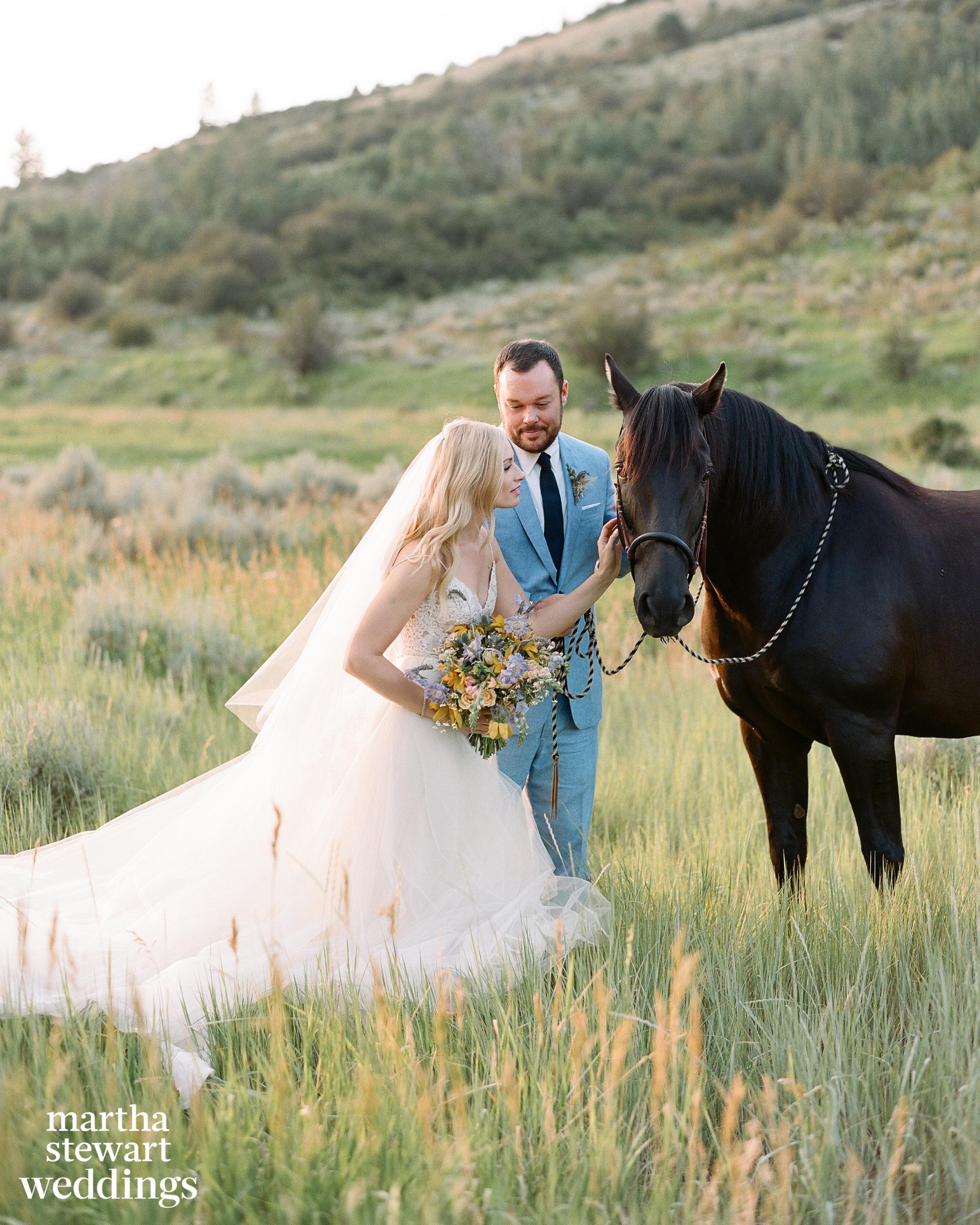 Equestrian bride, equine bridal photography, country wedding, wildhorse and bride, Sylvie Gil Photography