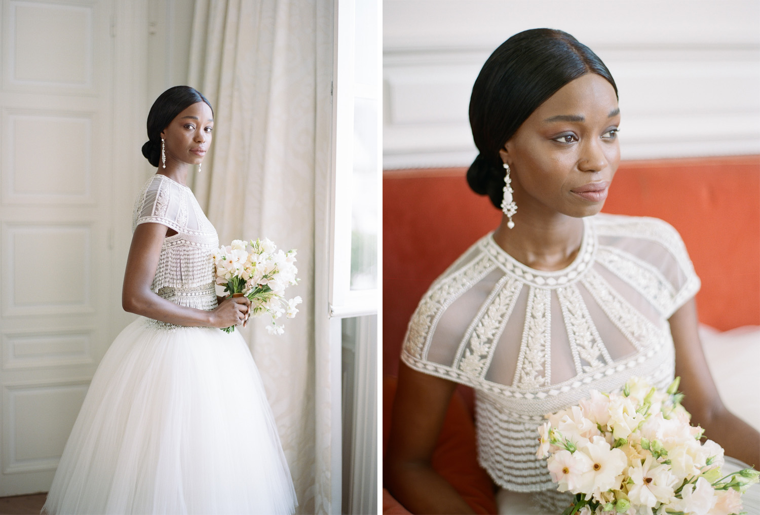 A bride in a Naeem Khan gown at Chateau de Varennes; Sylvie Gil Photography