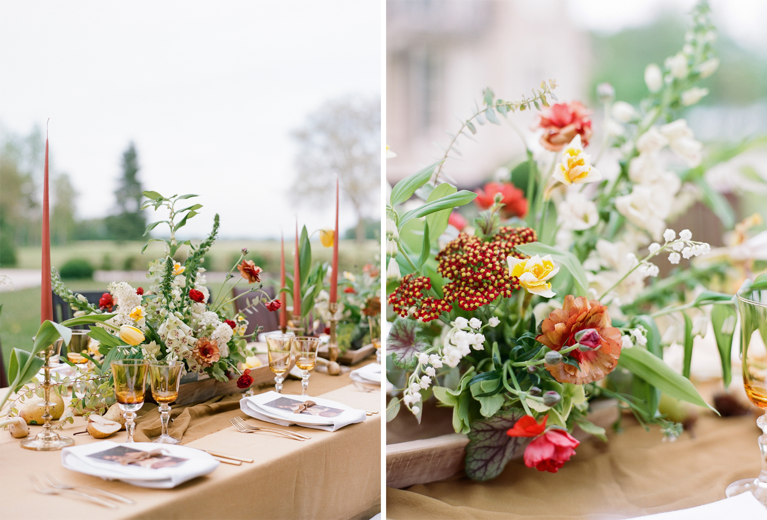 Cream, sage, and burgundy florals for a spring wedding reception tables at Chateau de Varennes; Sylvie Gil Photography
