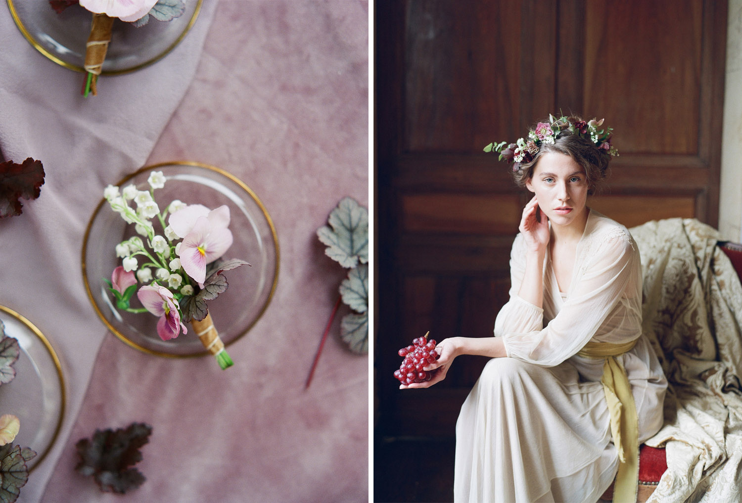 A bride holds a bunch of grapes during a boudoir shoot in Burgundy, France; Sylvie Gil Photography